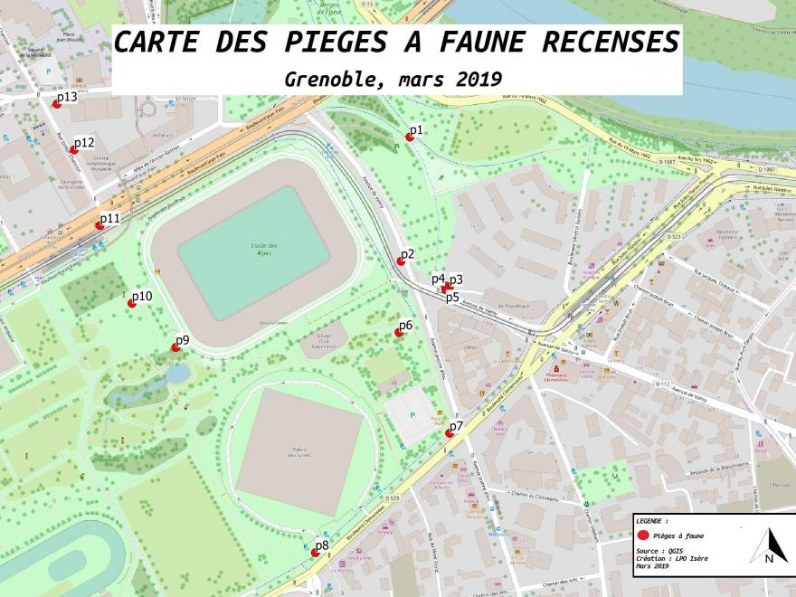Carte des pièges involontaires pour les animaux dans la ville (recensement mars 2019, LPO Isère)