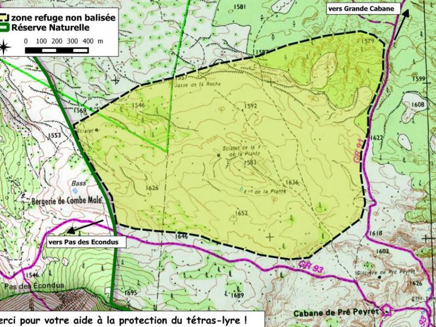 La zone de refuge du tétras-lyre sur les Hauts-Plateaux du Vercors, parc naturel régional du Vercors