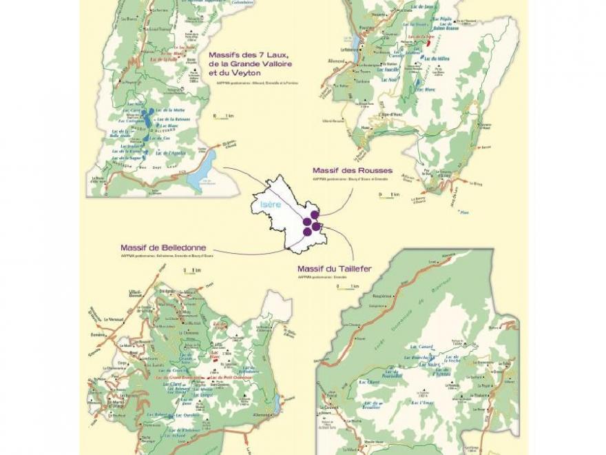 Carte des lacs de montagne, fédération de pêche 38, Nature isère