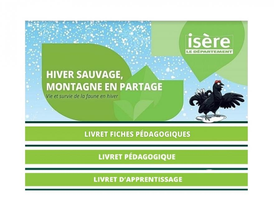 1ère page de la mallette Hiver sauvage, montagne en partage : Vie et survie de la faune en hiver du Département de l'Isère