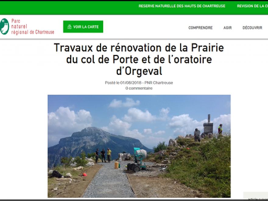 Capture écran des Travaux de rénovation de la Prairie du col de Porte et de l'oratoire d'Orgeval, nature isère