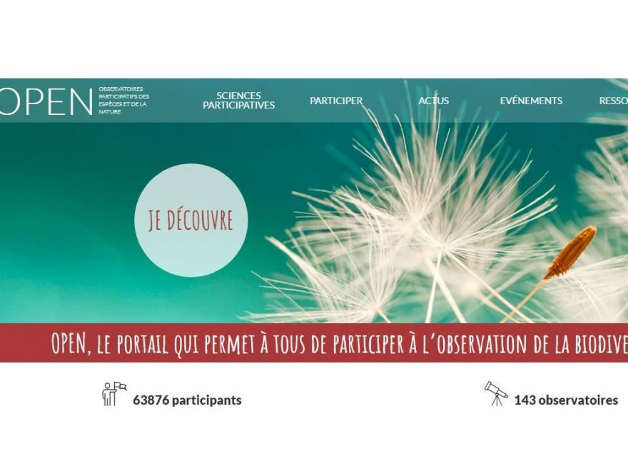 Capture écran de la page d'accueil du site internet OPEN sur nature isère