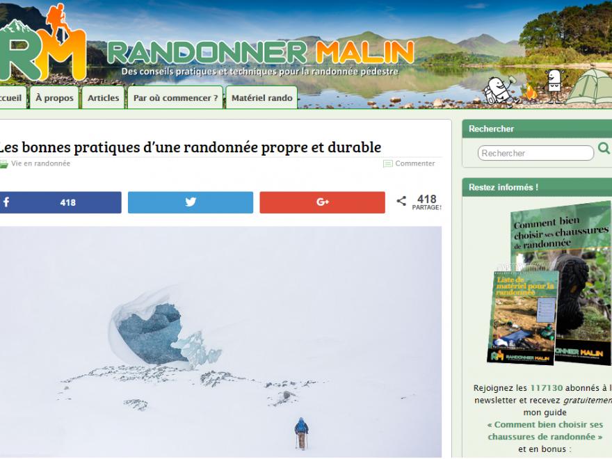 Page d'accueil du site avec l'article Quelques bonnes pratiques pour randonner proprement et durablement