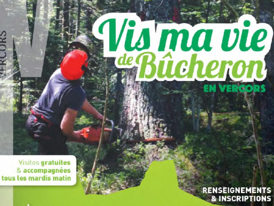 Affiche Vis ma vie de bûcheron organisé par le parc du Vercors et l'interprofession de la filière forêt/bois, nature isère