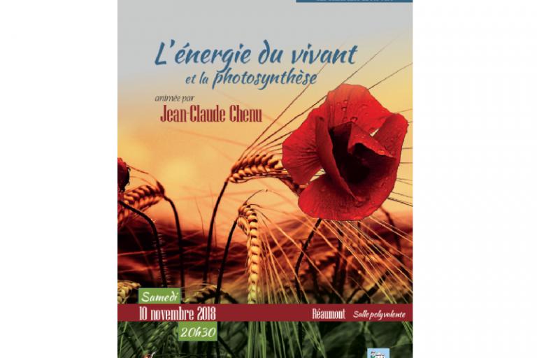 Affiche de la conférence L'énergie du vivant et la photosynthèse sur Nature isère