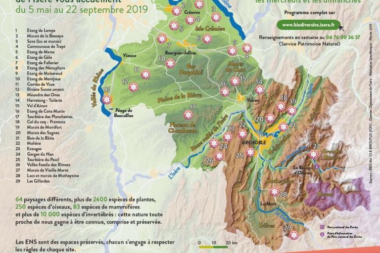 Carte des animations sur les ENS de l'Isère en 2019, sur nature isère
