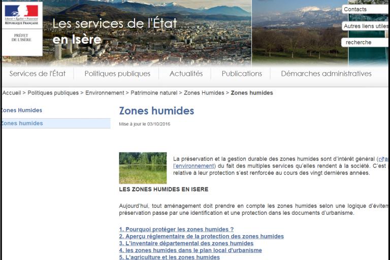 Capture écran site de la DDT Isère sur les zones humides, nature isère