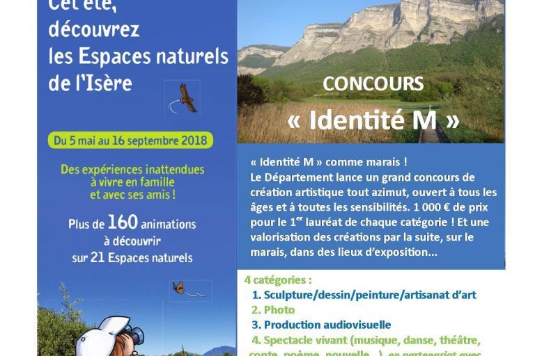 """Flyer """"Identité M"""" : le concours de création du marais de Montfort, nature isère"""