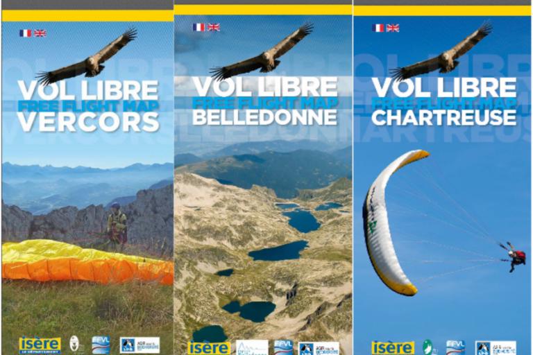 3 cartes sur le vol libre en Vercors, Chartreuse et Belledonne, nature isère
