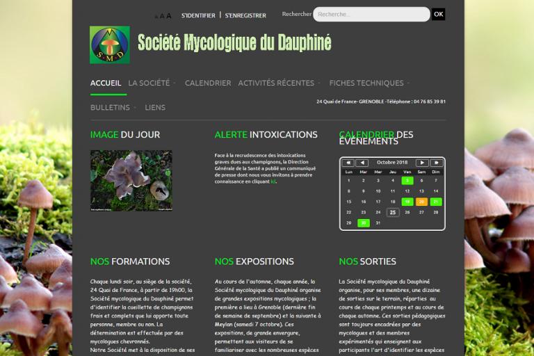 Page d'accueil du site de la Société Mycologique du Dauphiné (SMD38)