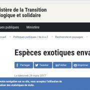 Capture écran du site web du ministère, nature isère