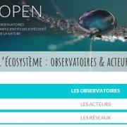 Capture écran de la page d'accueil du portail national OPEN sur nature isère