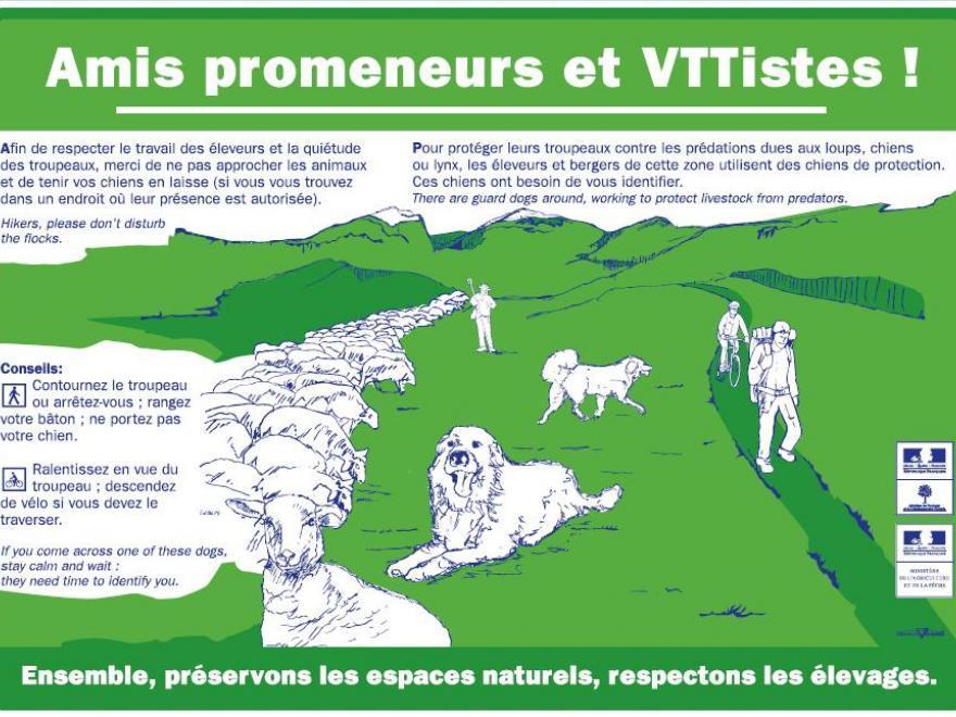 Panneau amis promeneurs et VTTistes avec alpages, nature isère