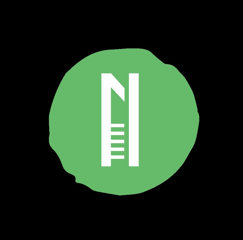 Logo de l'association Nemeton - La lettre N majuscule écrite en blanc dans un rond vert