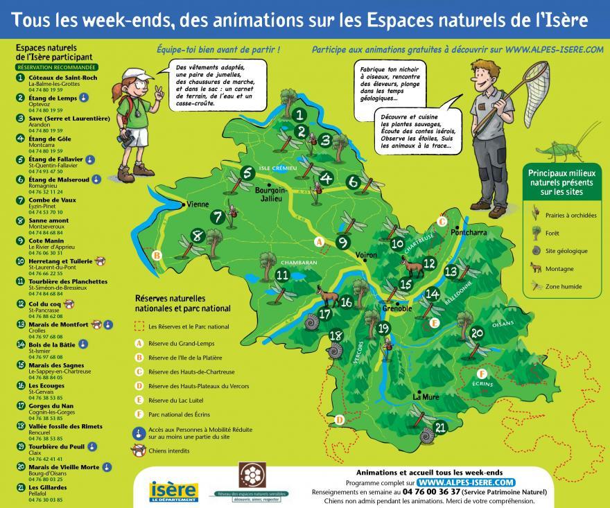 Carte des animations sur les Espaces naturels de l'Isère
