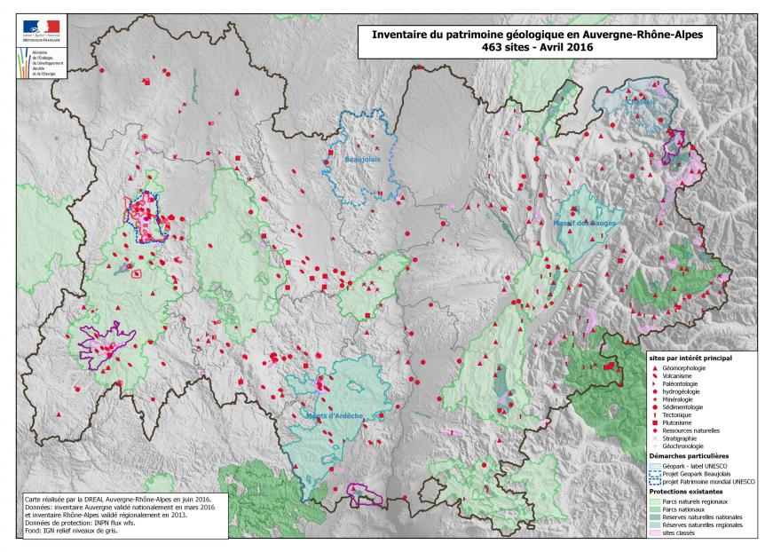 Carte de l'Inventaire du patrimoine géologique en Auvergne-Rhône-Alpes DREAL 2016, nature isère