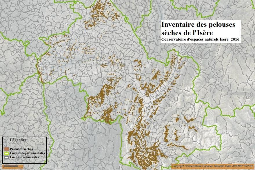 Carte des pelouses sèches de l'isère, CEN Isère