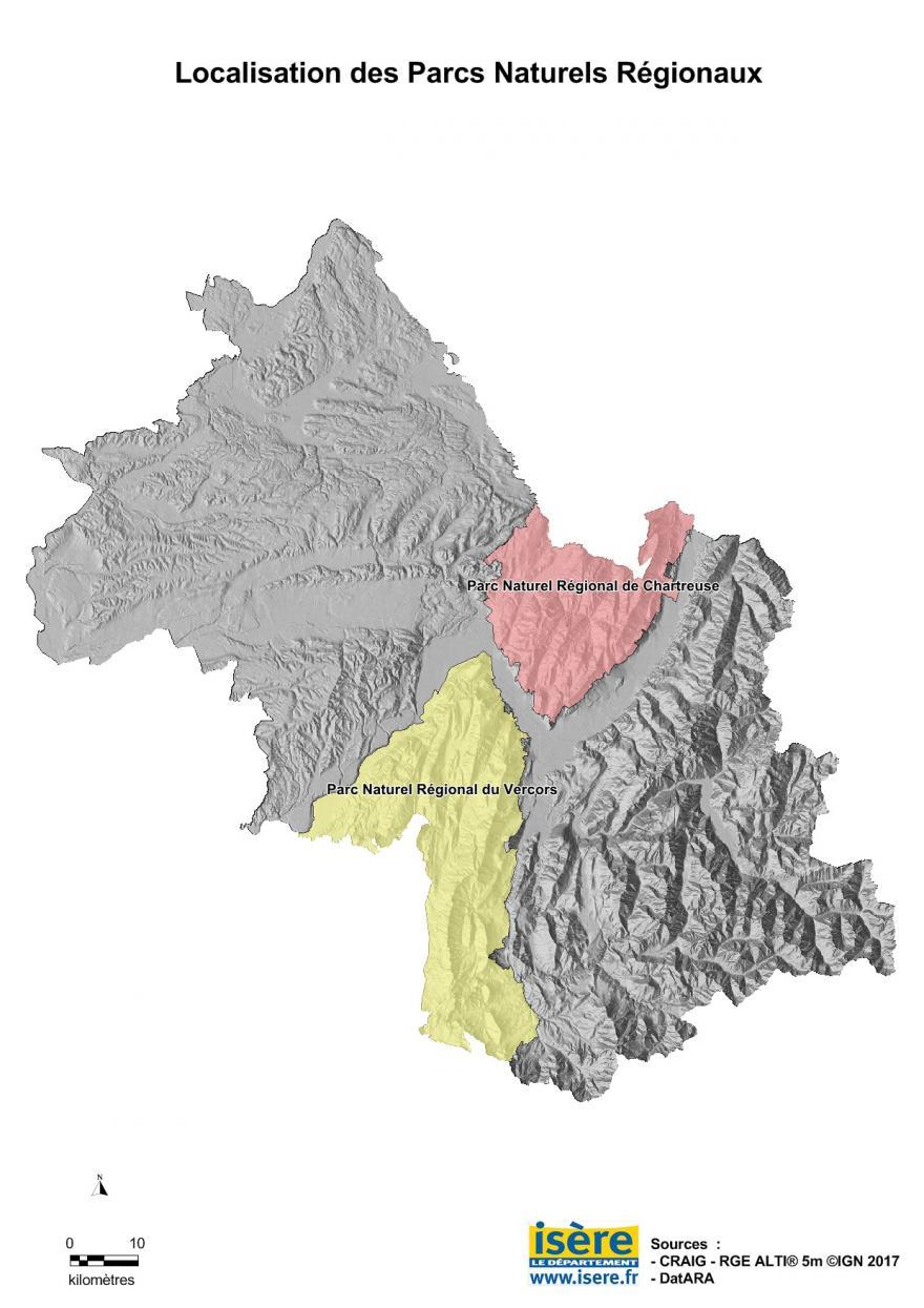 Carte des parcs naturels régionaux de l'Isère, du Département de l'Isère