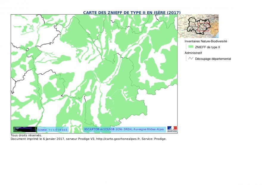 Carte des ZNIEFF de type II en Isère (2017), extrait DREAL, nature isère