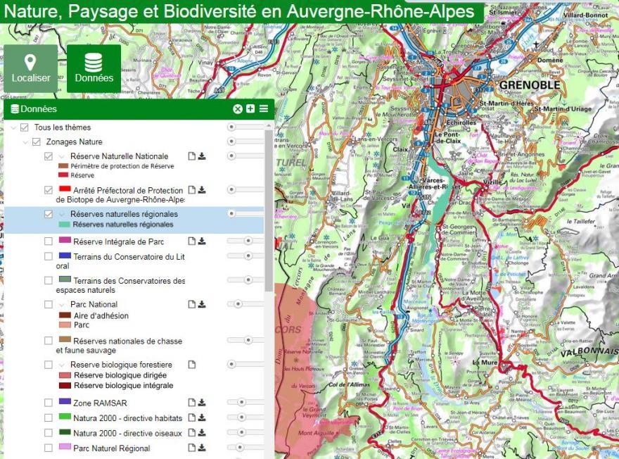 Capture écran de la page web du portail cartographique de la DREAL sur nature isère