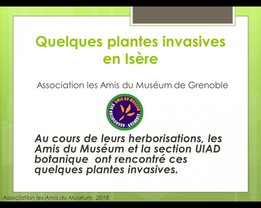 Quelques plantes invasives en Isère, Amis du Muséum, nature isère