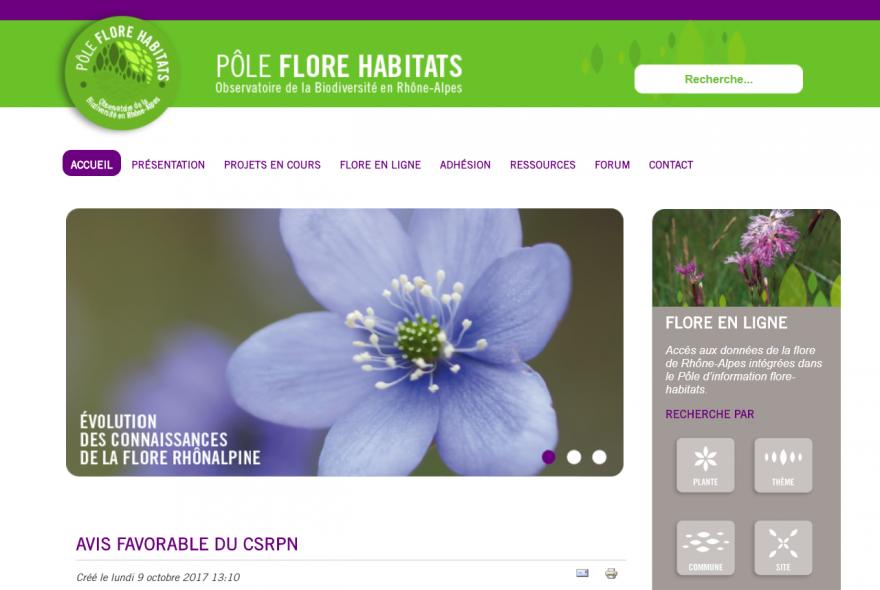 Page d'accueil du site Pôle flore habitat, nature isère