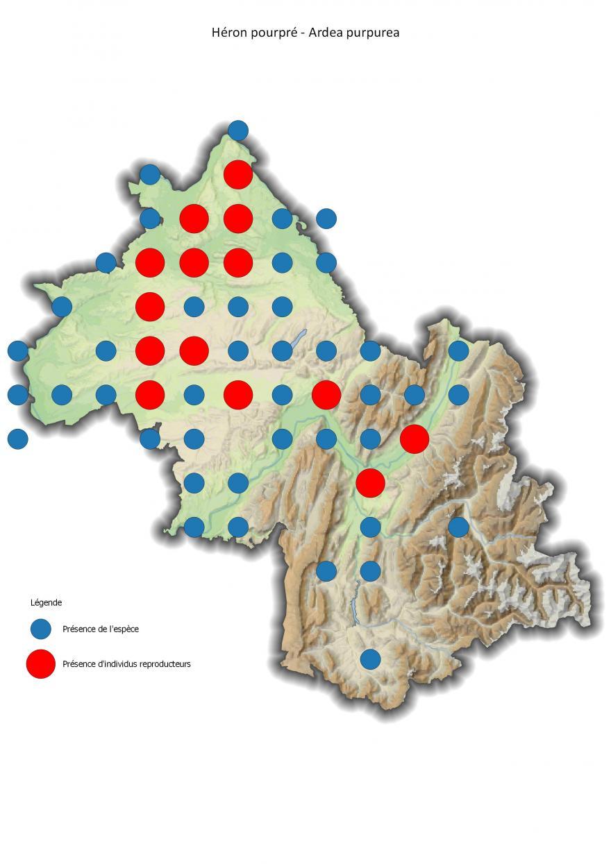Répartition du héron pourpré en Isère (2001-2016).