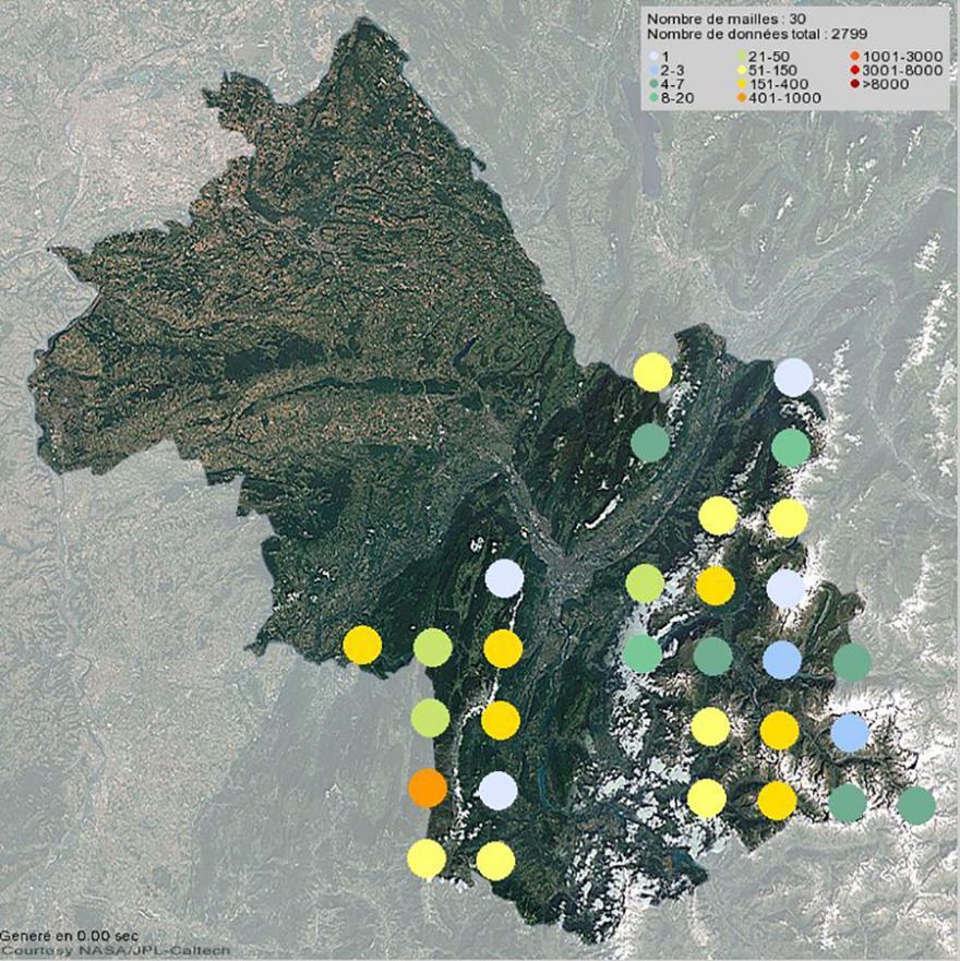 Présence du bouquetin des Alpes en Isère (2001-2021)