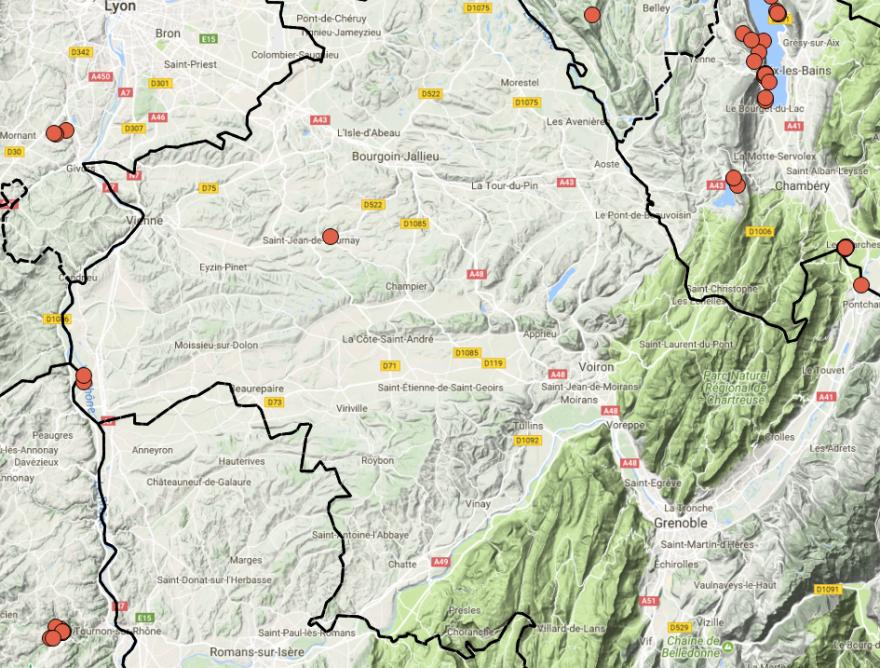 Carte de 2017 Groupe Sympetrum/LPO : La Cordulie à corps fin est présente à la marge du département de l'Isère.
