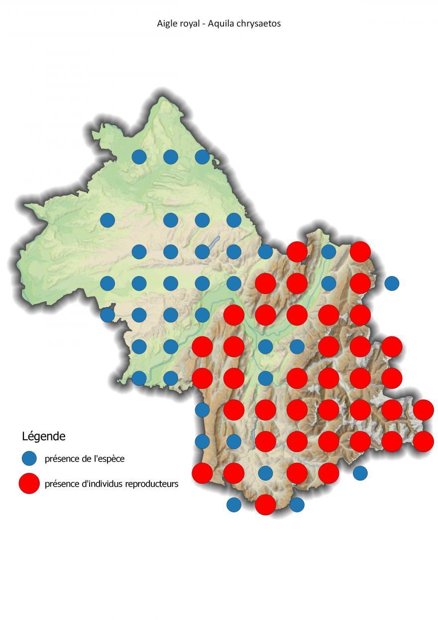 Carte de répartition de l'aigle royal en Isère (2001-2016) - Nature Isère.