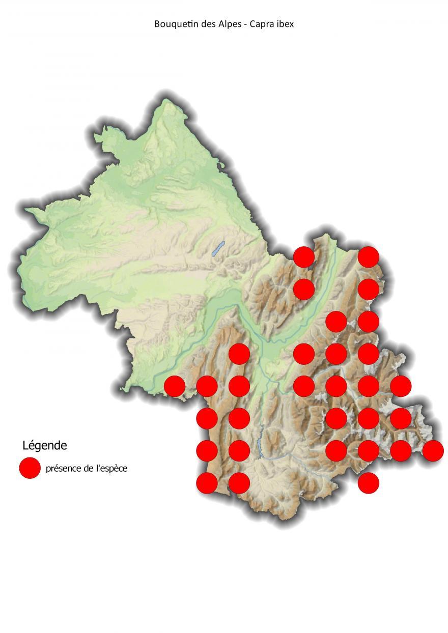 Carte de répartition du bouquetin des Alpes en Isère (2001-2016) - Nature Isère