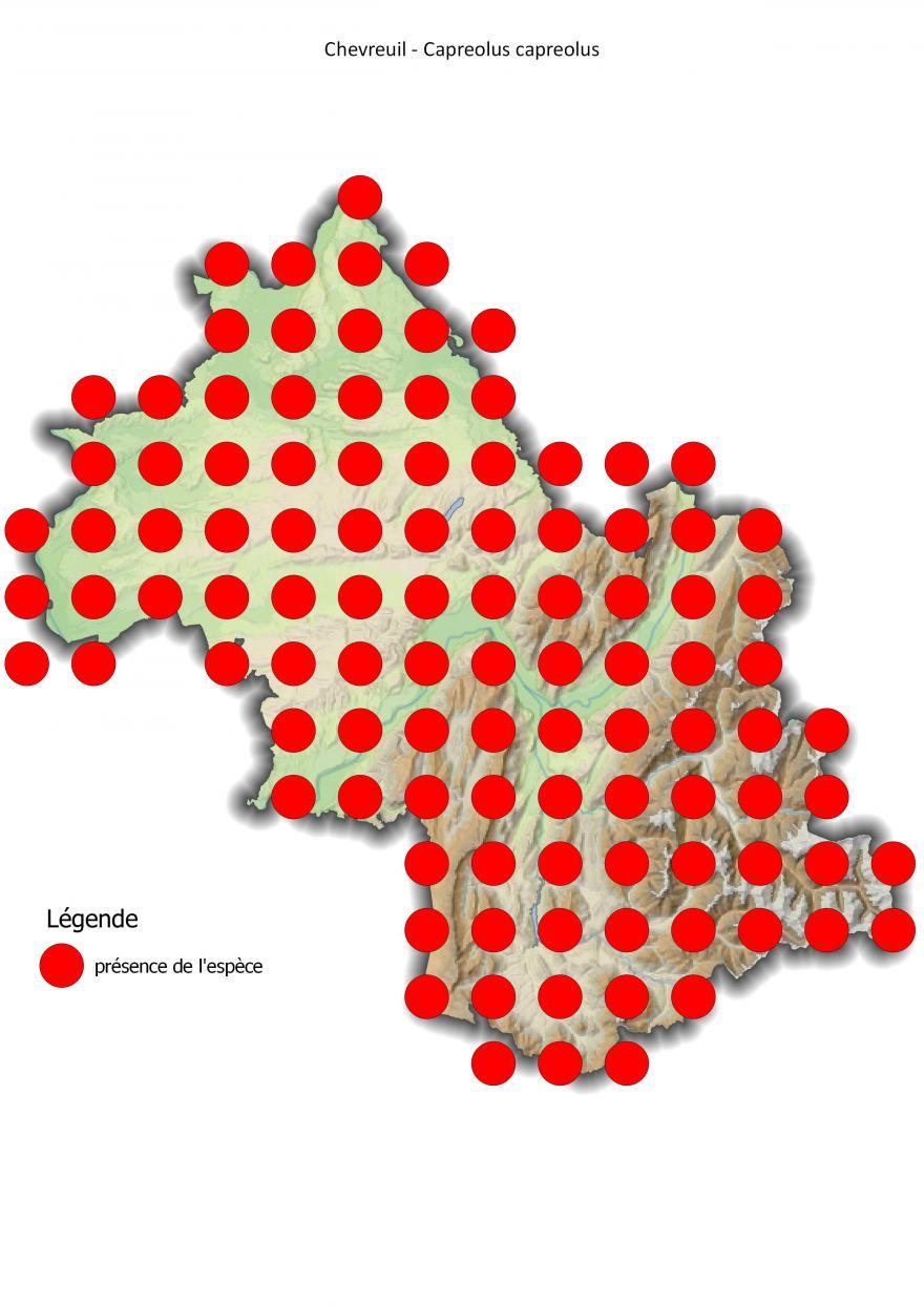 Carte de répartition du chevreuil en Isère (2001-2016).