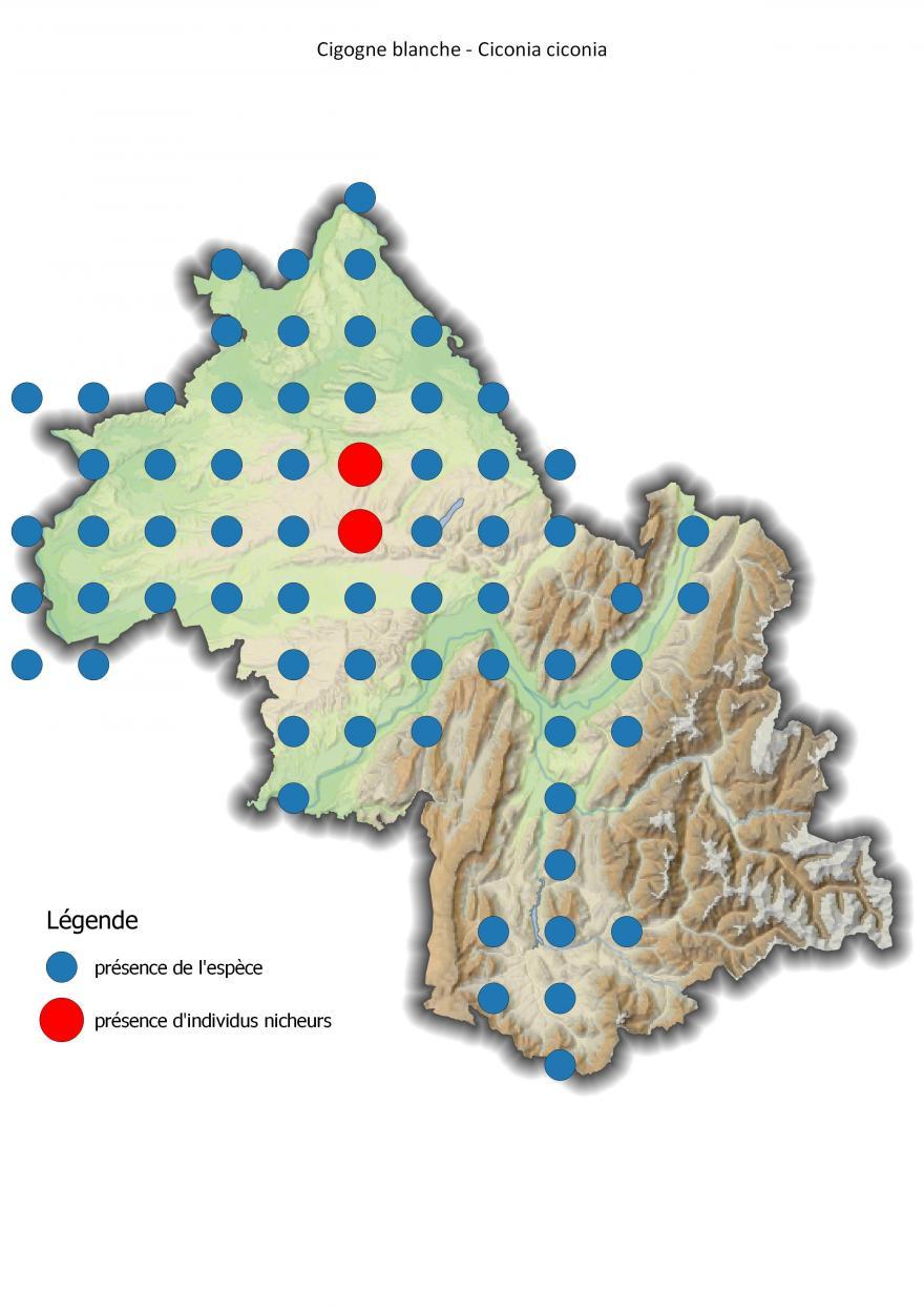 Carte de répartition de la cigogne blanche en Isère (2001-2016).