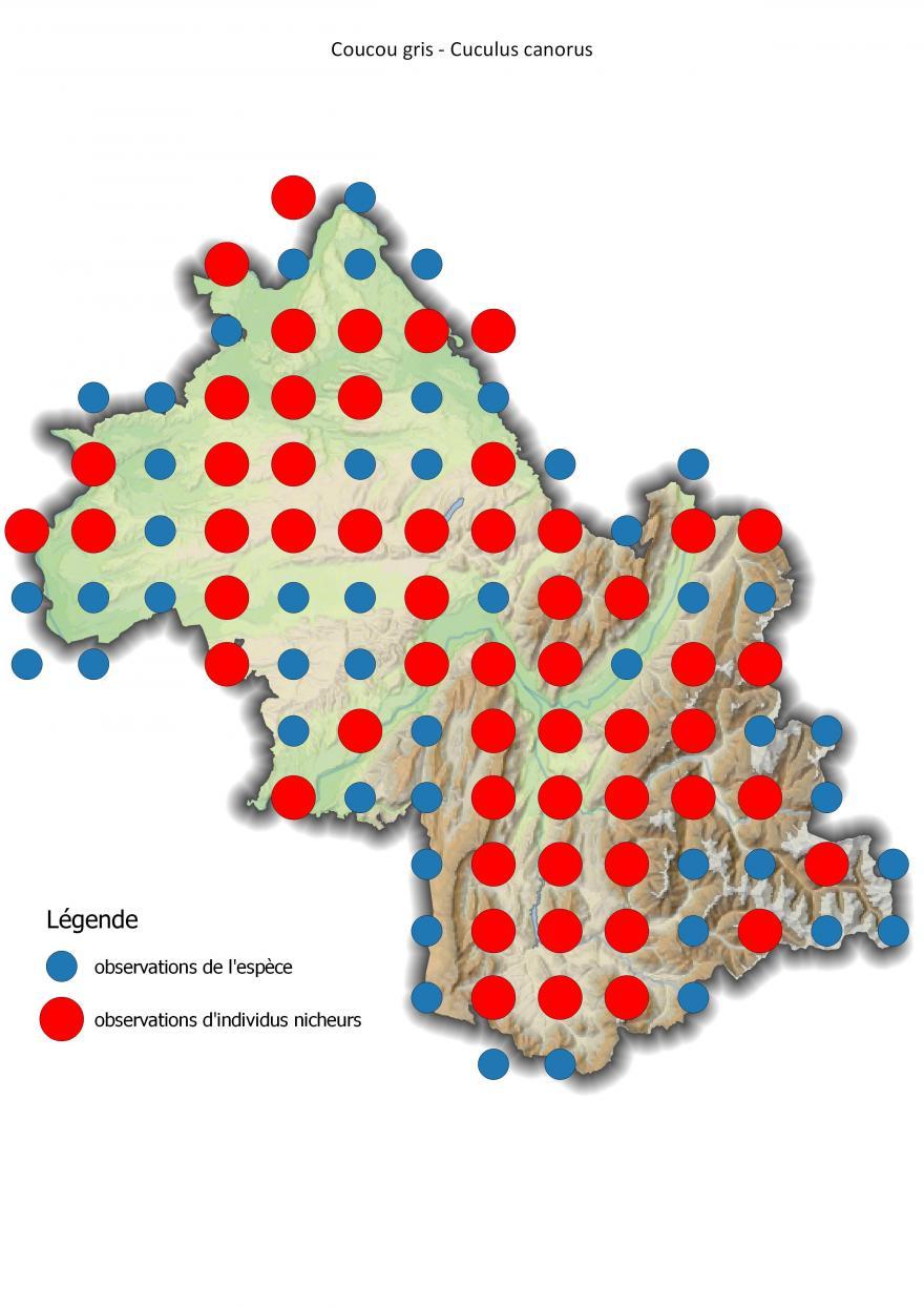 Carte de répartition du coucou gris en Isère (2001-2016).