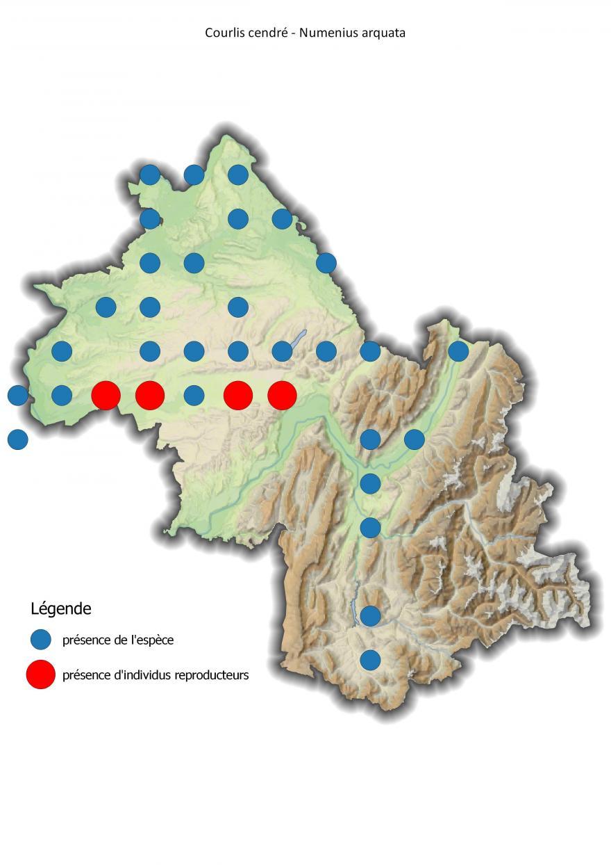 Carte de répartition du courlis cendré en Isère (2001-2016).