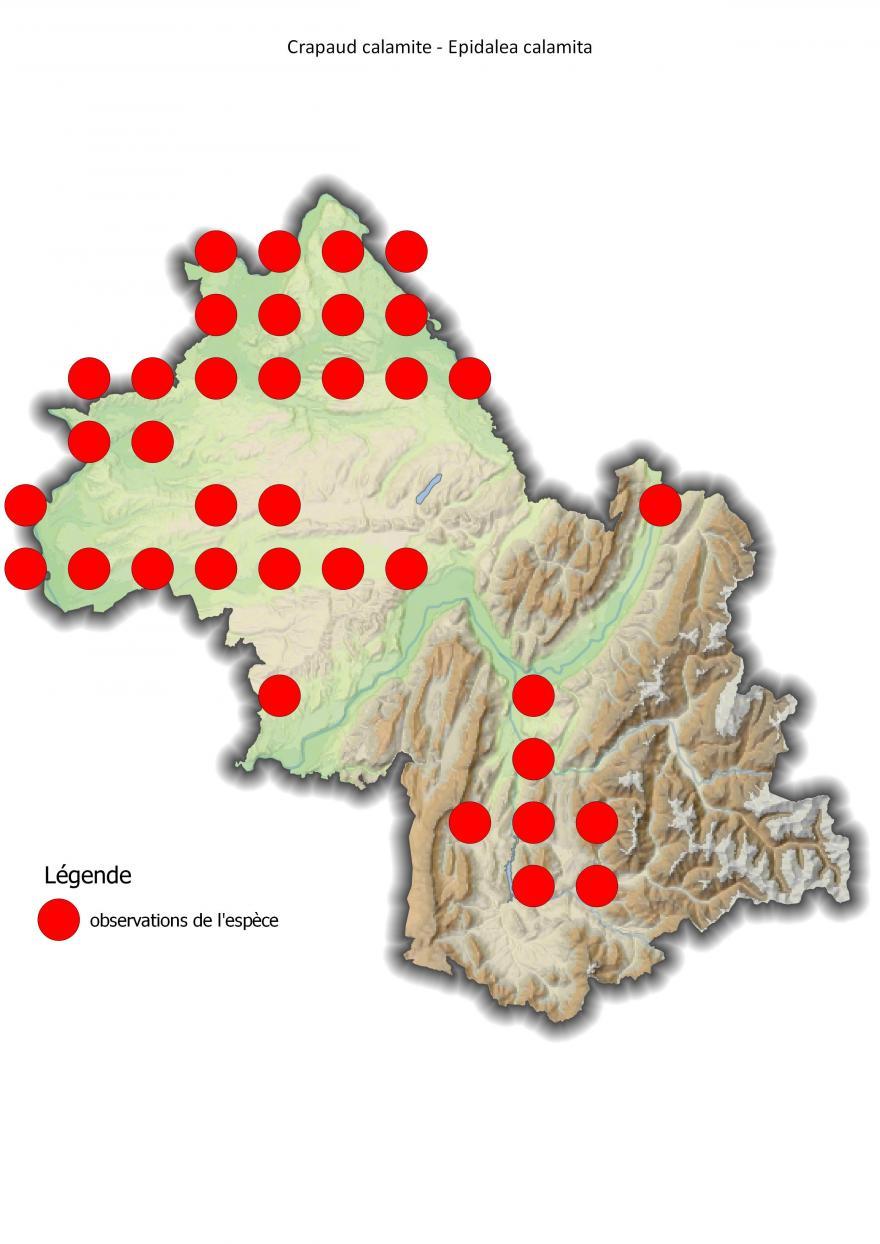Carte de répartition du crapaud calamite en Isère (2001-2016).