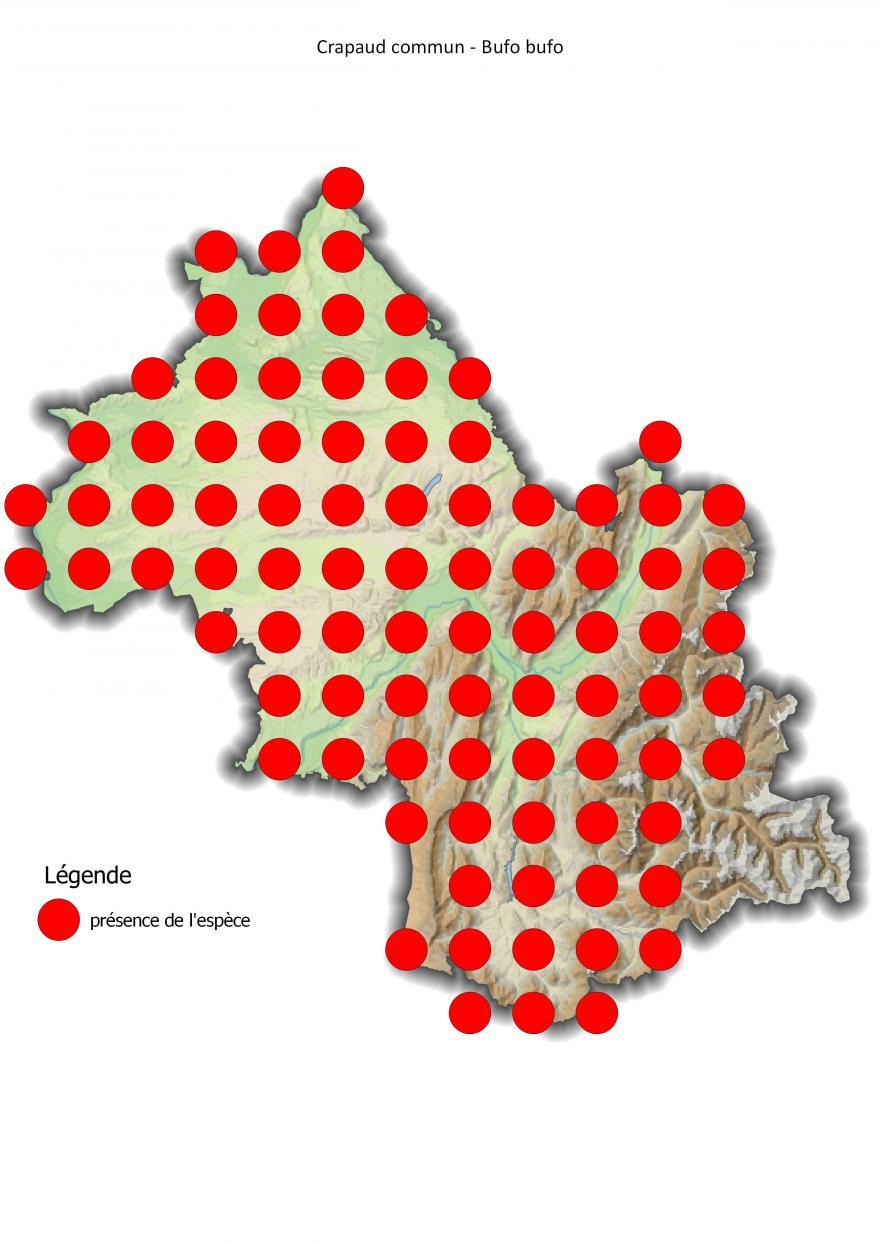 Carte de répartition du crapaud commun en Isère (2001-2016).