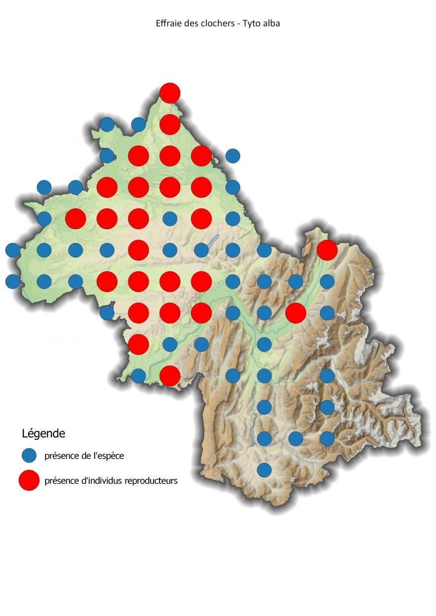Carte de répartition de l'effraie des clochers en Isère (2001-2016) - Nature Isère.