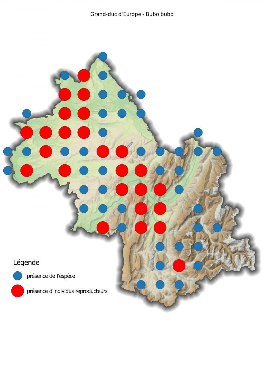 Carte de répartition du grand-duc d'Europe en Isère (2001-2016) - Nature Isère.