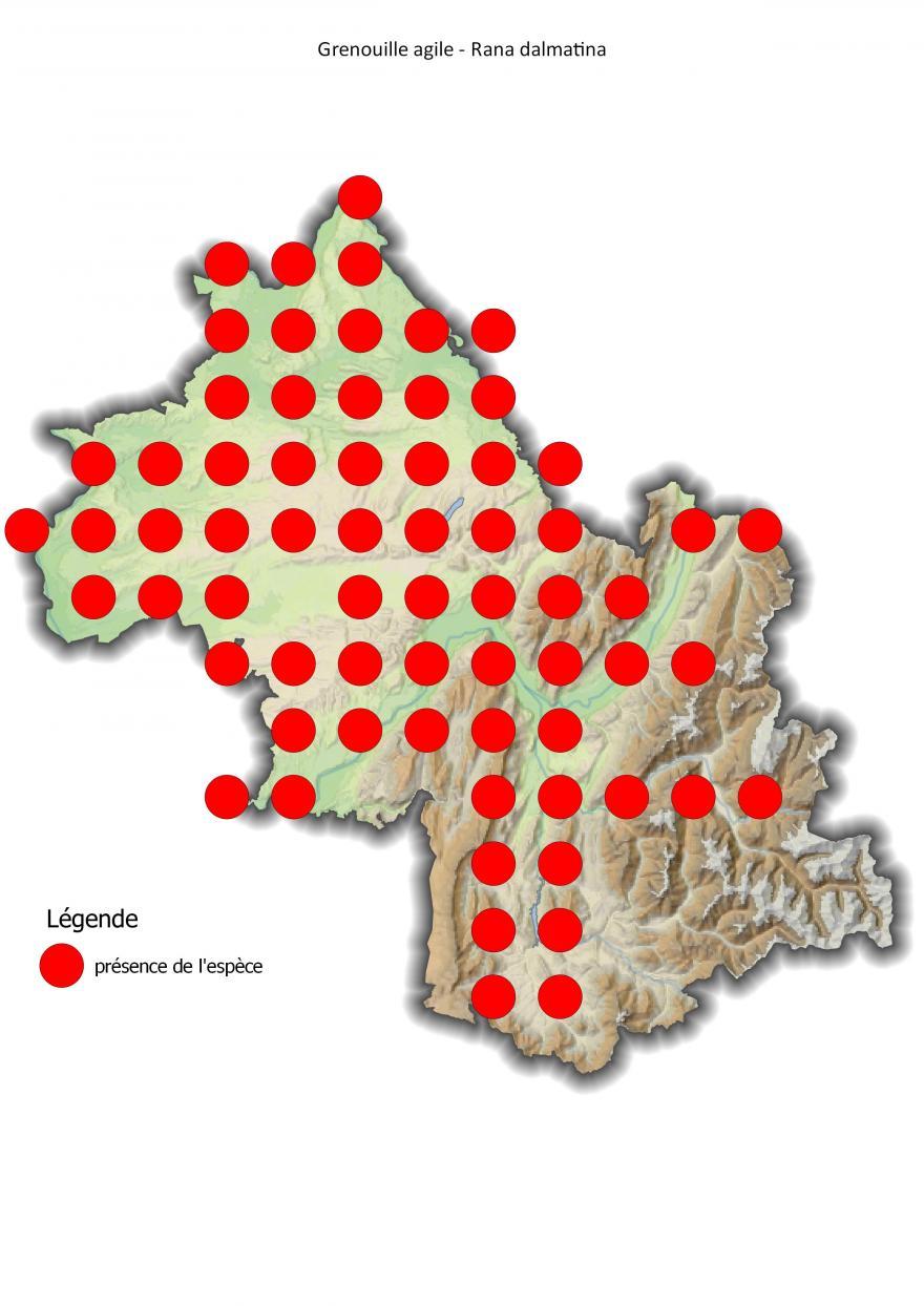 Carte de répartition de la grenouille agile en Isère (2001-2016).