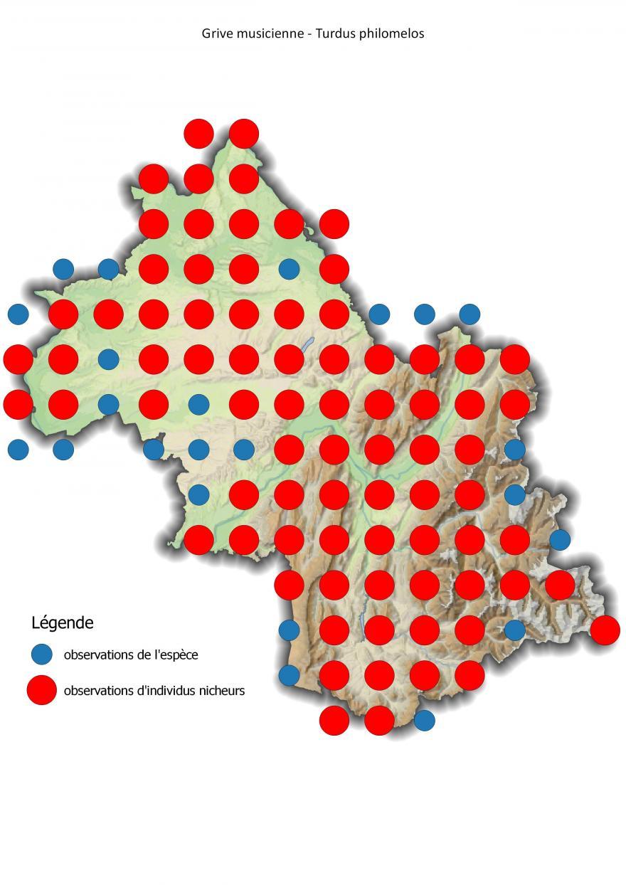 Carte de répartition de la grive musicienne en Isère (2001-2016).