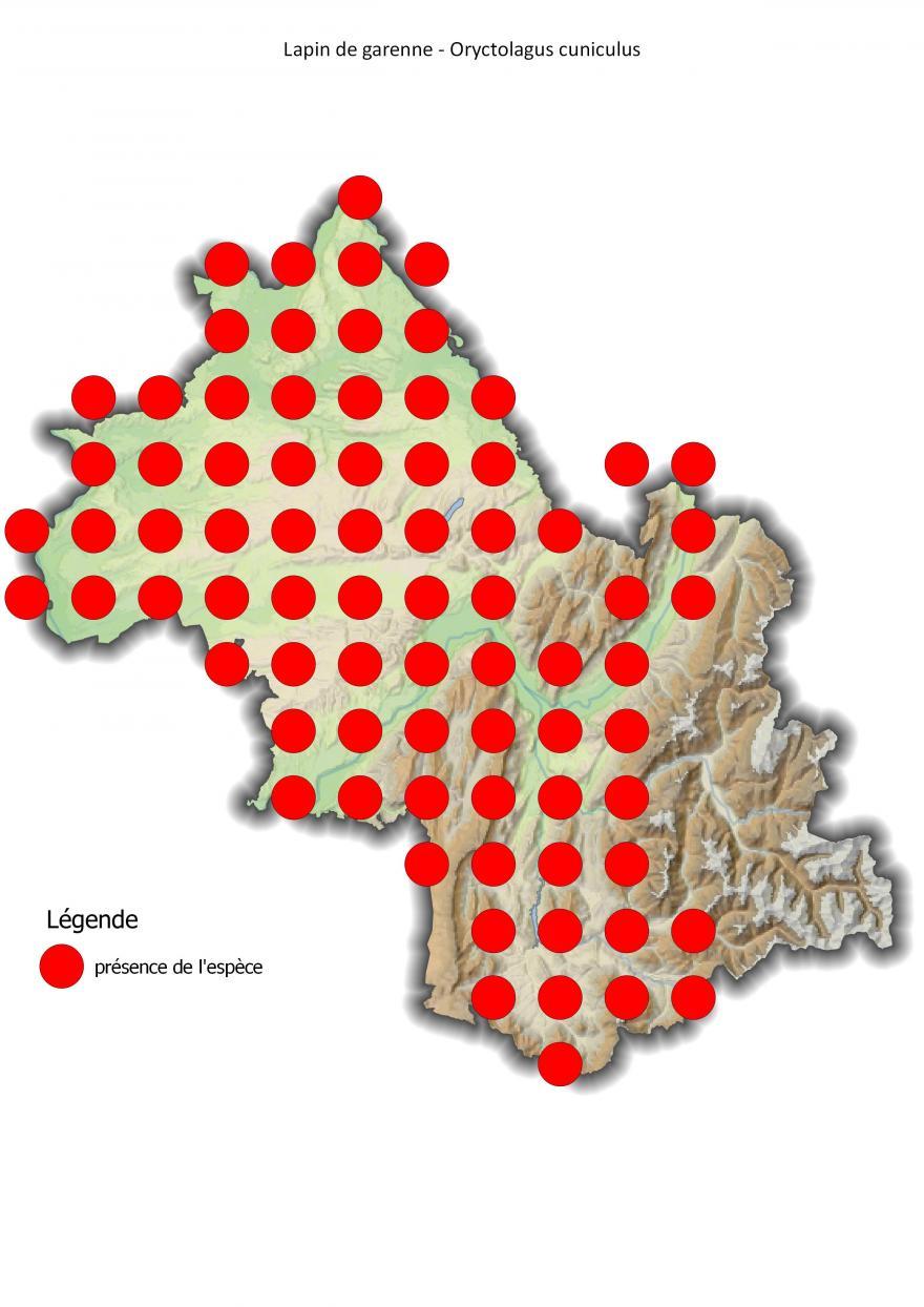 Carte de répartition du lapin de garenne en Isère (2001-2016).