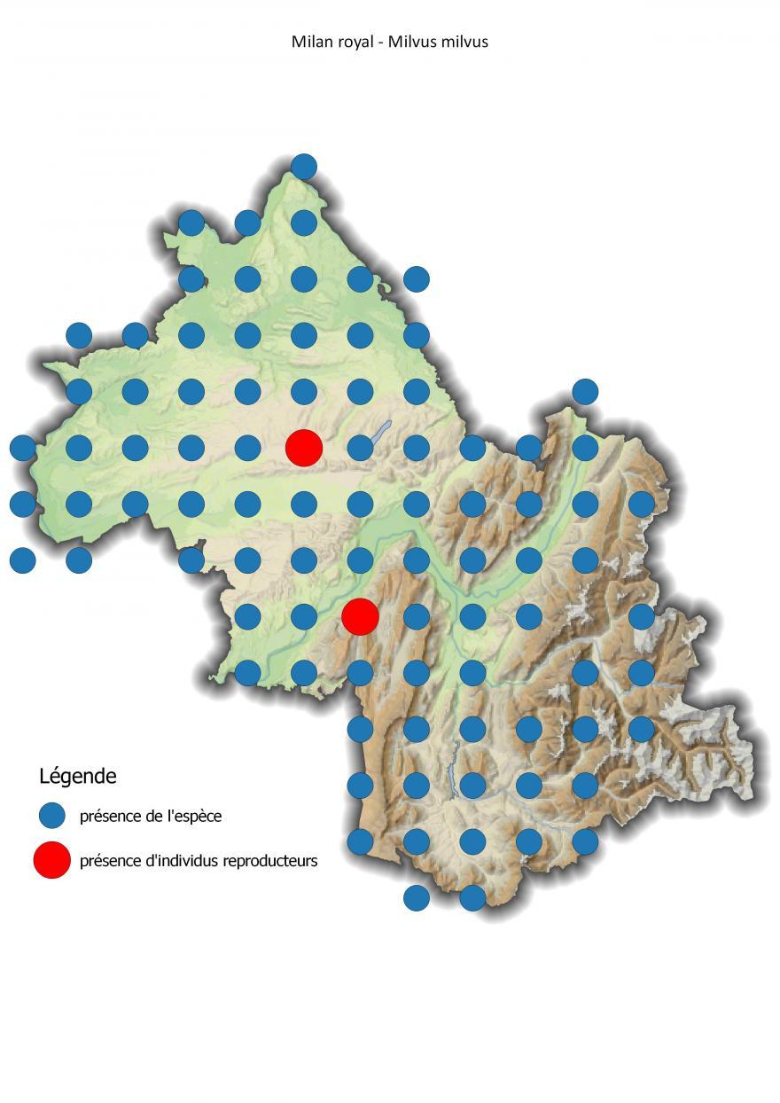 Carte de répartition du milan royal en Isère (2001-2016).