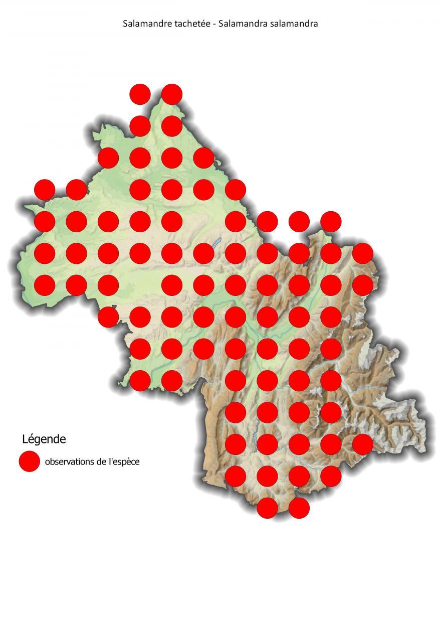 Carte de répartition de la salamandre tachetée en Isère (2001-2016).