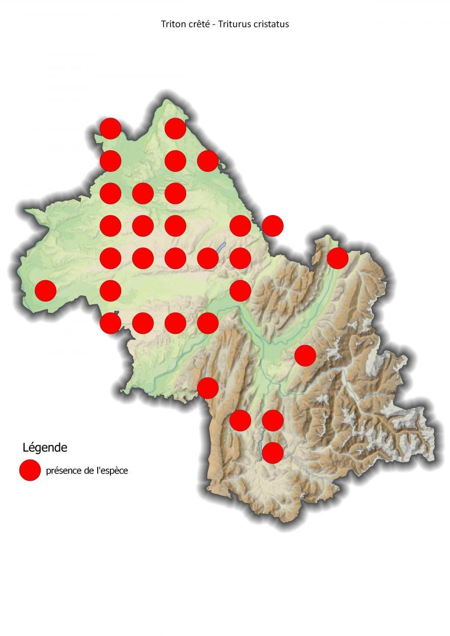 Carte de répartition du triton crêté en Isère (2001-2016).