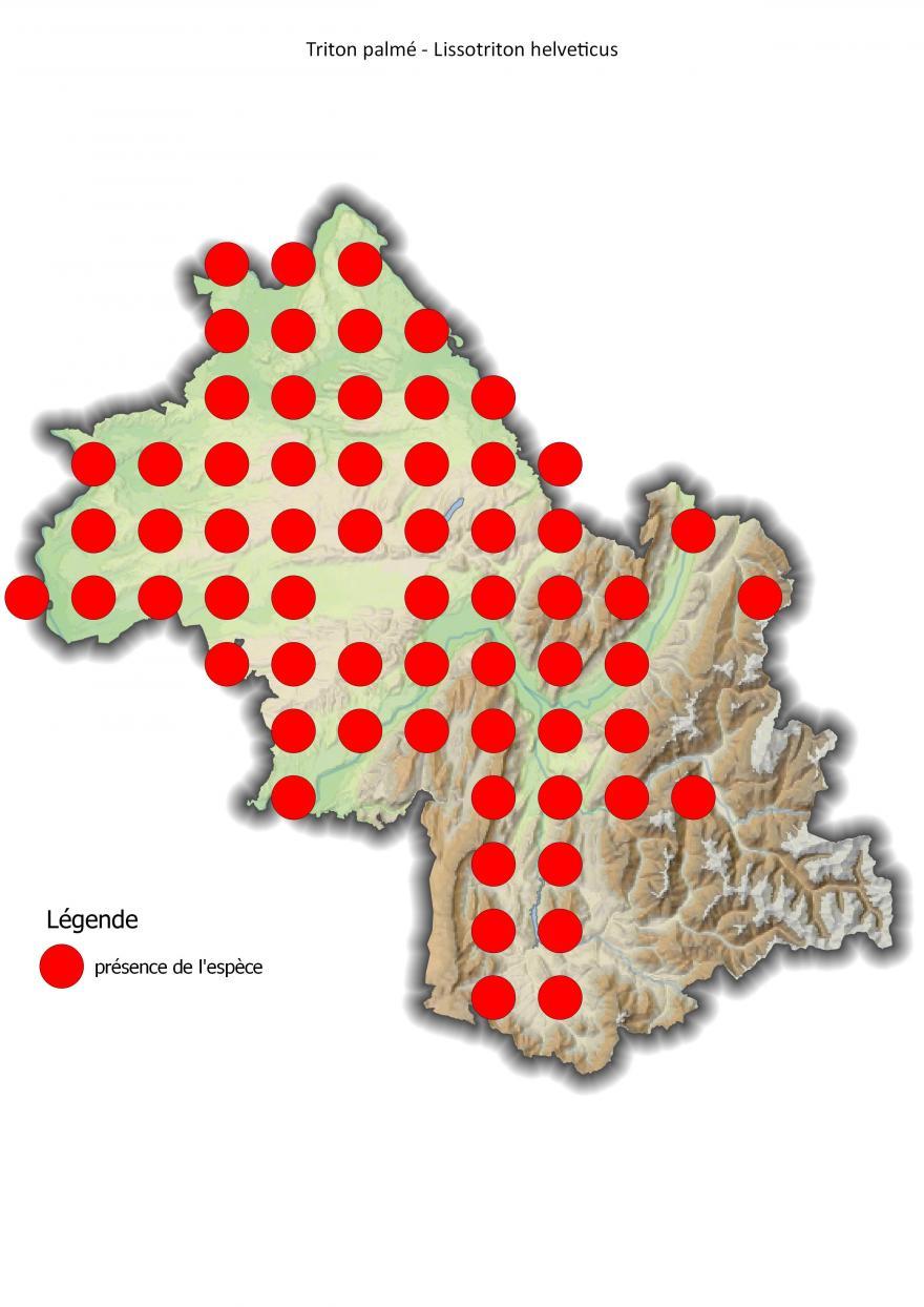 Carte de répartition du triton palmé en Isère (2001-2016).