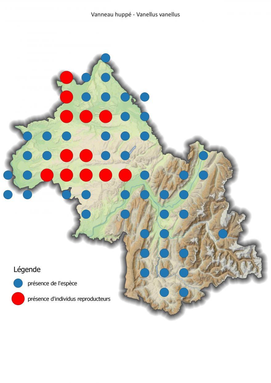 Carte de répartition du vanneau huppé en Isère (2001-2016).