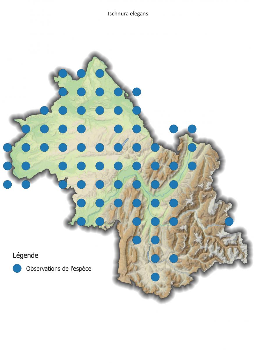Carte de répartition de l'Agrion élégant en Isère, Nature Isère