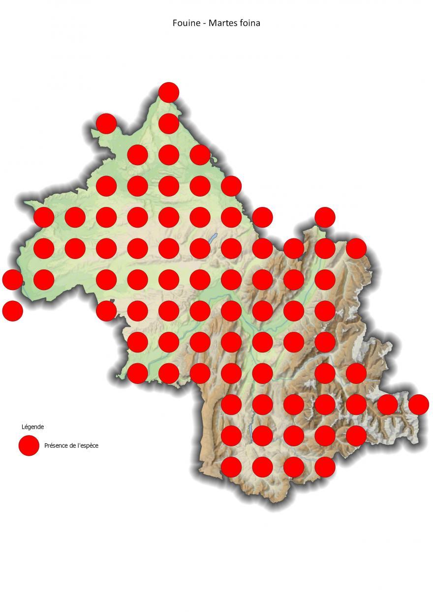 Répartition de la fouine en Isère (2001-2016).