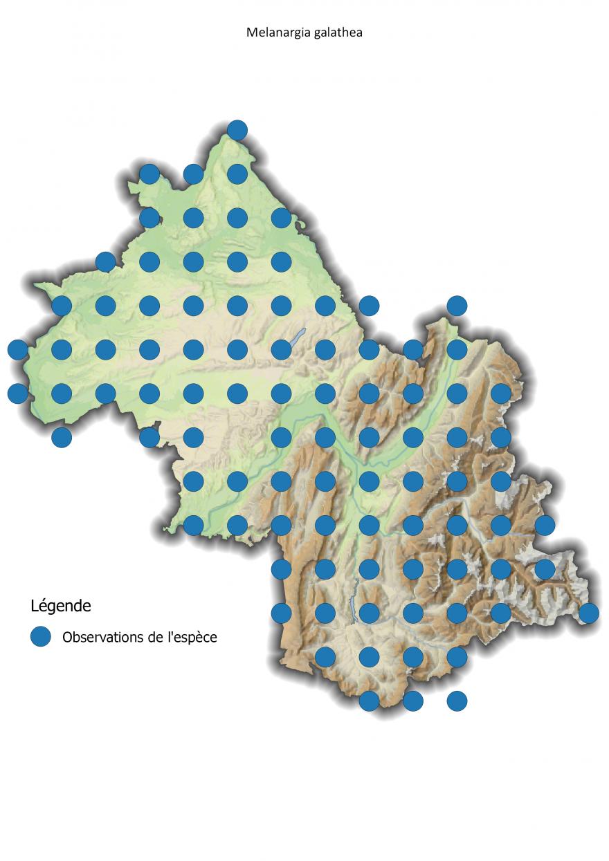 Carte de répartition du Demi-Deuil en Isère, Nature Isère